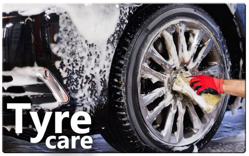 car wheels being washed