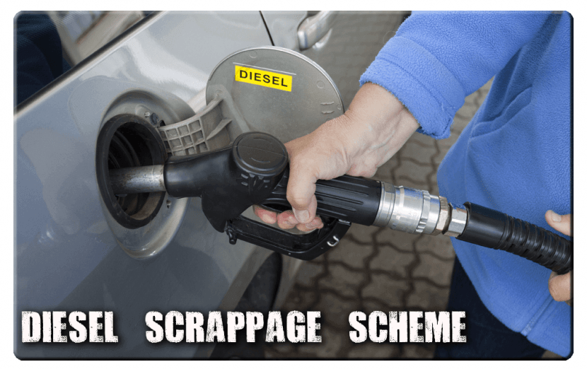 person fuelling car with diesel