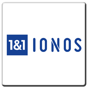 A square tile bearing the company logo of 1&1 IONOS
