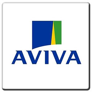 A square tile bearing the company logo of Aviva