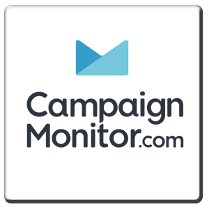 A square tile bearing the company logo of Campaign Monitor