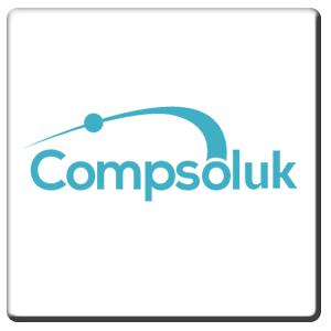 A square tile bearing the company logo of Compsol UK