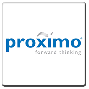 A square tile bearing the company logo of Proximo