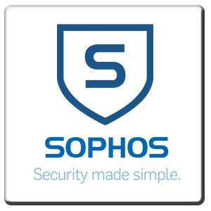 A square tile bearing the company logo of Sophos