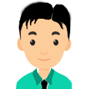 A small avatar of a white male with black hair wearing a green shirt with a black tie.